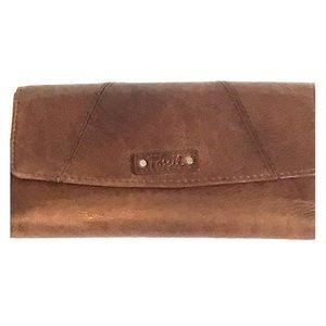 FOSSIL Trifold Leather Wallet Brown